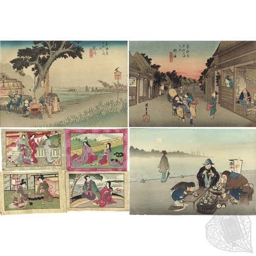 A Collection of Crepe Paper Illustrations, Woodblock-Printed Seven Woodblock-Printed Chirimen-e